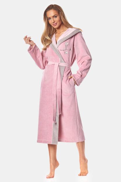 Dámský bavlněný župan May powder pink
